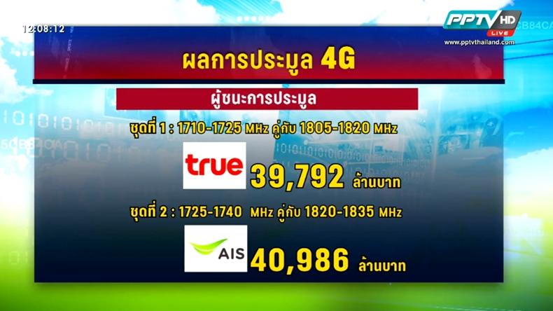AIS-TRUE คว้าชัย ประมูล 4G –ฐากรยันราคาให้บริการต้องถูกกว่า 3G