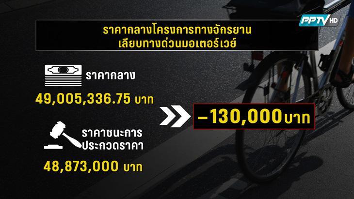 ตรวจสอบ E-Auction ทางจักรยานเลียบถนนมอเตอร์เวย์ขาเข้า (คลิป)