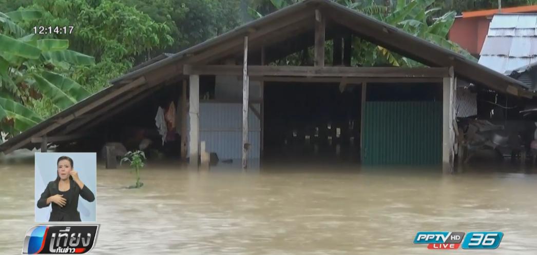 ฝนตกหนักน้ำป่าทะลักท่วมถนน บ้านเรือนประชาชน