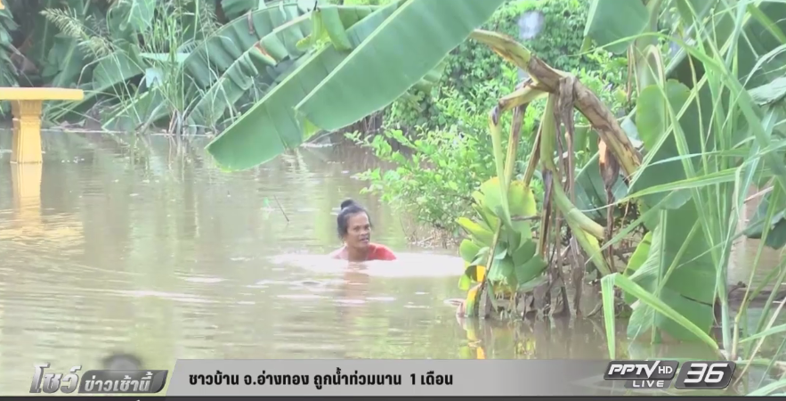 ชาวบ้าน จ.อ่างทอง ถูกน้ำท่วมนาน 1 เดือน