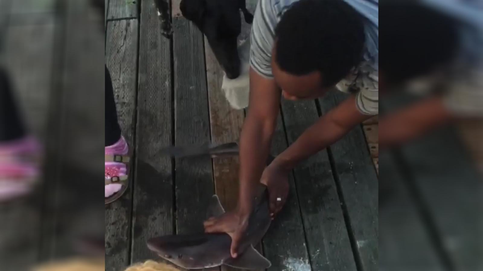 วัยรุ่นมะกันสุดห้าว กระโดดจับฉลามด้วยมือเปล่า