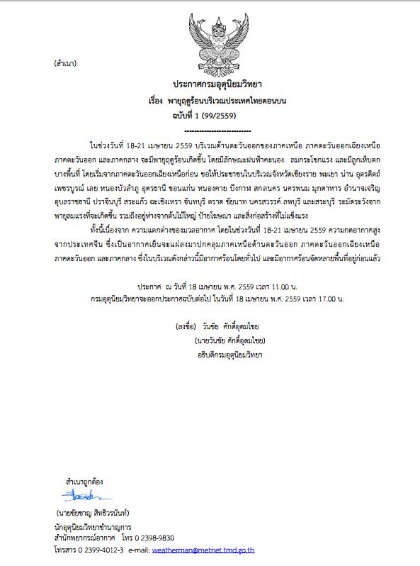 กรมอุตุฯ เตือน ปชช.บริเวณประเทศไทยตอนบน ระวังพายุฤดูร้อน