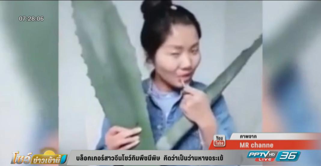 บล็อกเกอร์สาวจีนโชว์กินพืชมีพิษ  หลงคิดว่าเป็นว่านหางจระเข้