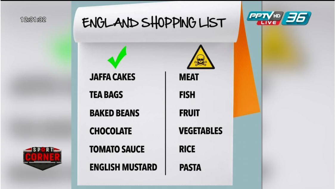 ทีมชาติอังกฤษ คุมเข้มอาหารแข้งดังช่วงฟุตบอลโลก