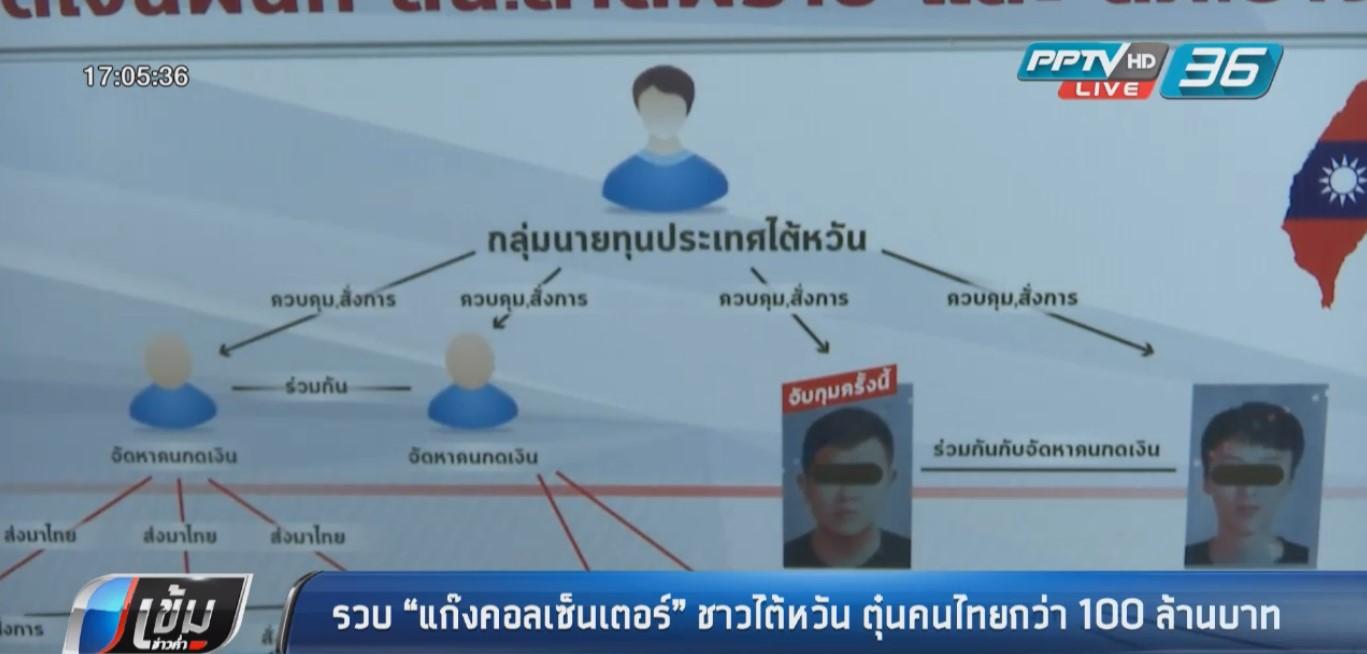 """รวบ """"แก๊งคอลเซ็นเตอร์"""" ชาวไต้หวัน ตุ๋นคนไทยกว่า 100 ล้านบาท"""