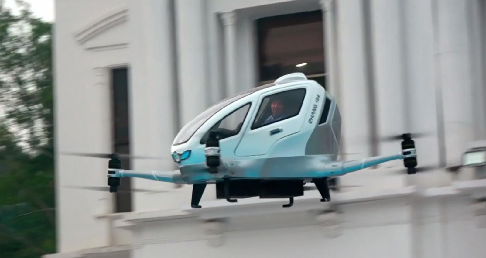 """จีนทดสอบบิน """"แท็กซี่โดรน"""" ในที่สาธารณะครั้งแรก"""
