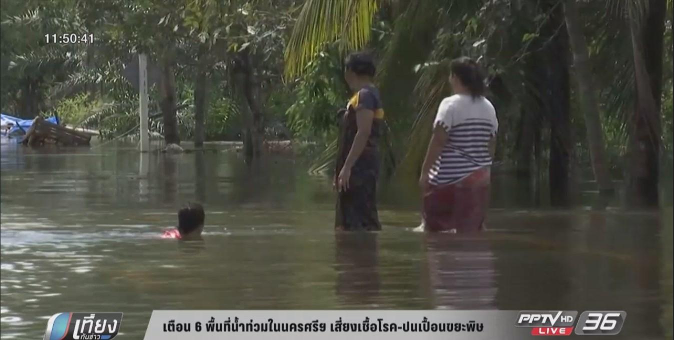 เตือน 6 พื้นที่น้ำท่วมในนครศรีฯ เสี่ยงเชื้อโรค-ปนเปื้อนขยะพิษ (คลิป)