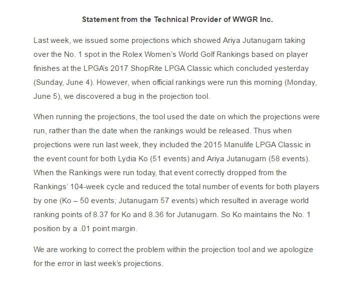 """LPGA ขอโทษ คิดแต้มผิด """"โปรเม"""" อดขึ้นมือ 1 โลก"""