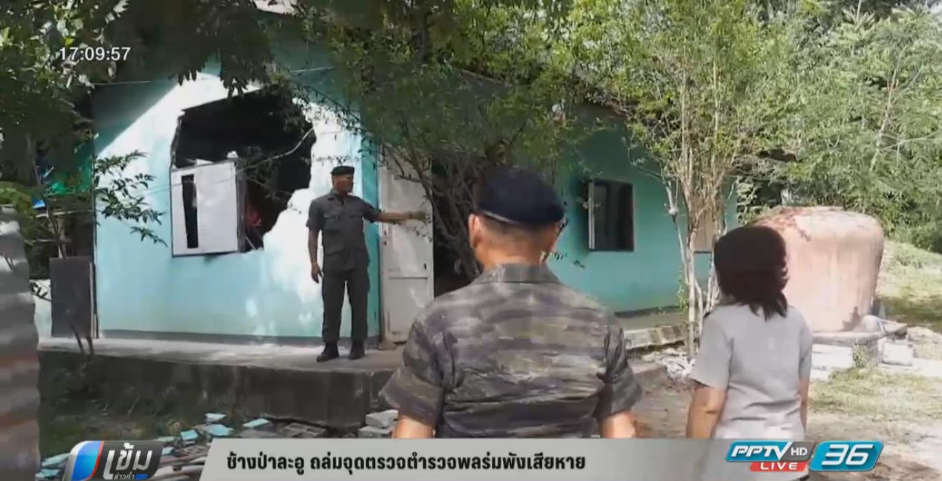 ช้างป่าละอู ทำลายจุดตรวจตำรวจพลร่มพังเสียหาย