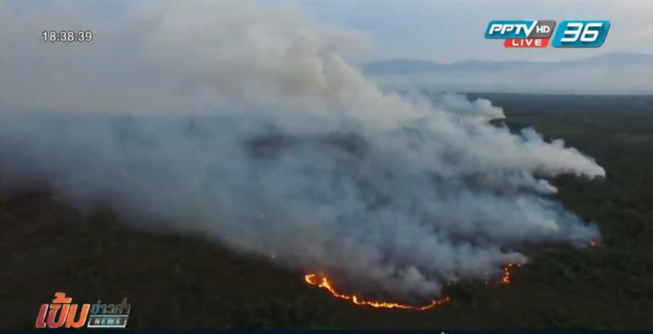 ไฟไหม้ป่าพรุโต๊ะแดงยังควบคุมไม่ได้