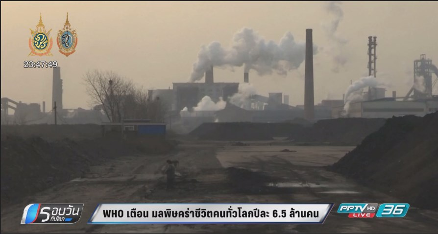 WHO เตือน มลพิษคร่าชีวิตคนทั่วโลกปีละ 6.5 ล้านคน