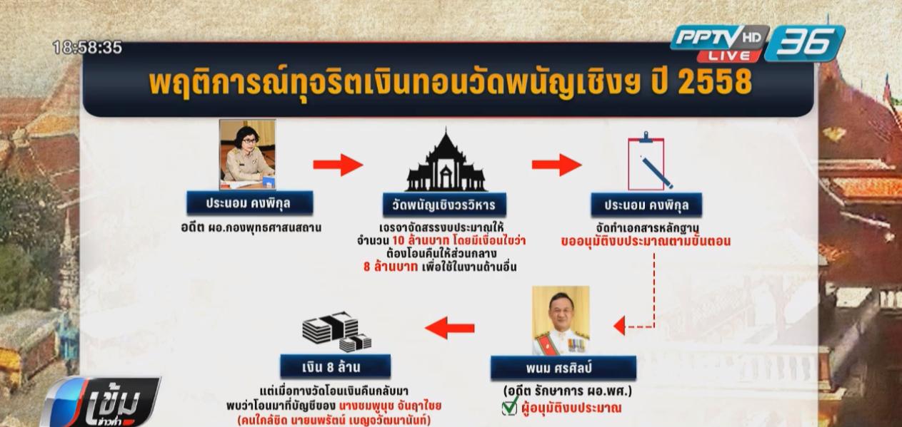 ป.ป.ช.ฟัน 3 บิ๊กข้าราชการสำนักพระพุทธฯ ยักยอกเงินทอนวัดพนัญเชิงฯ