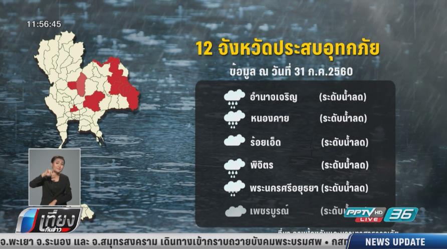 น้ำท่วม 12 จังหวัด-16 เส้นทางผ่านไม่ได้