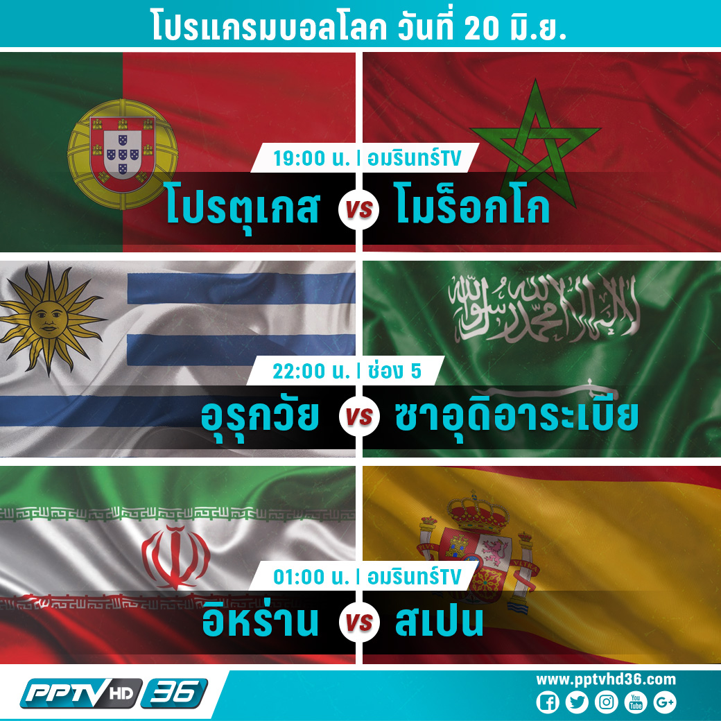 โปรแกรมแข่งขันฟุตบอลโลกวันที่ 20 มิ.ย. และผลบอลโลก
