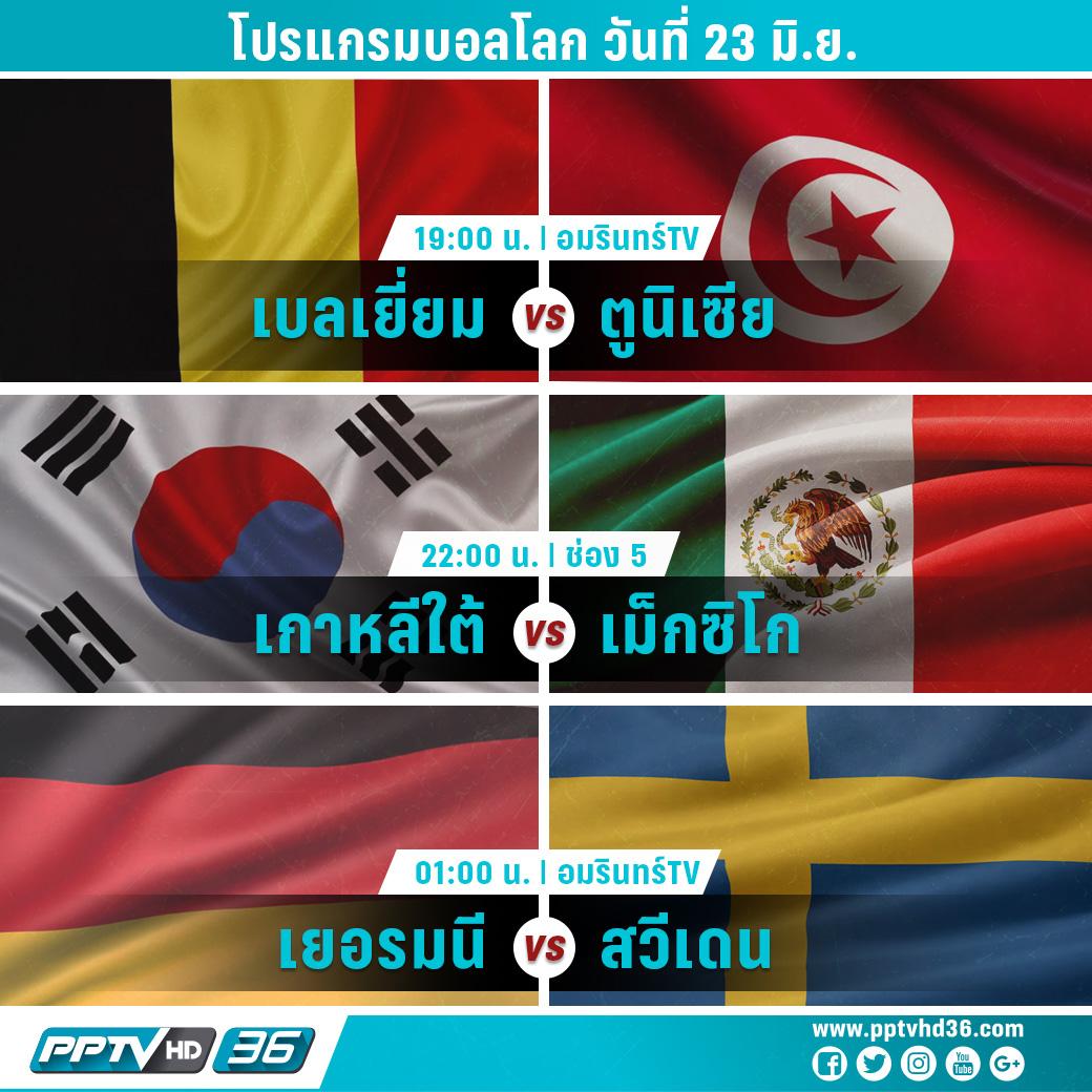 โปรแกรมฟุตบอลโลกวันที่ 23 มิ.ย. และอัพเดตผลบอลโลก
