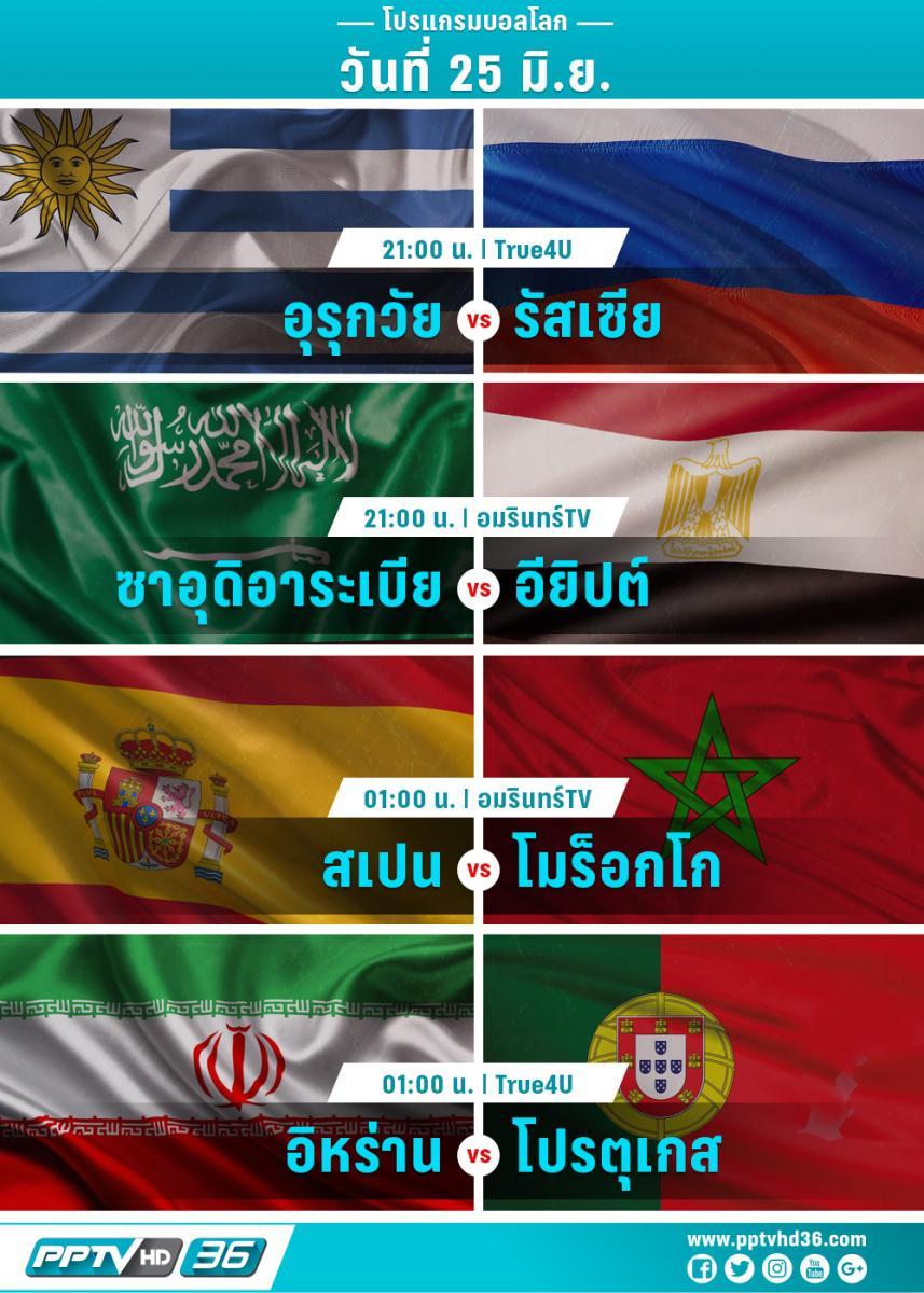 โปรแกรมฟุตบอลโลกวันที่ 25 มิ.ย. และอัพเดตผลบอลโลก