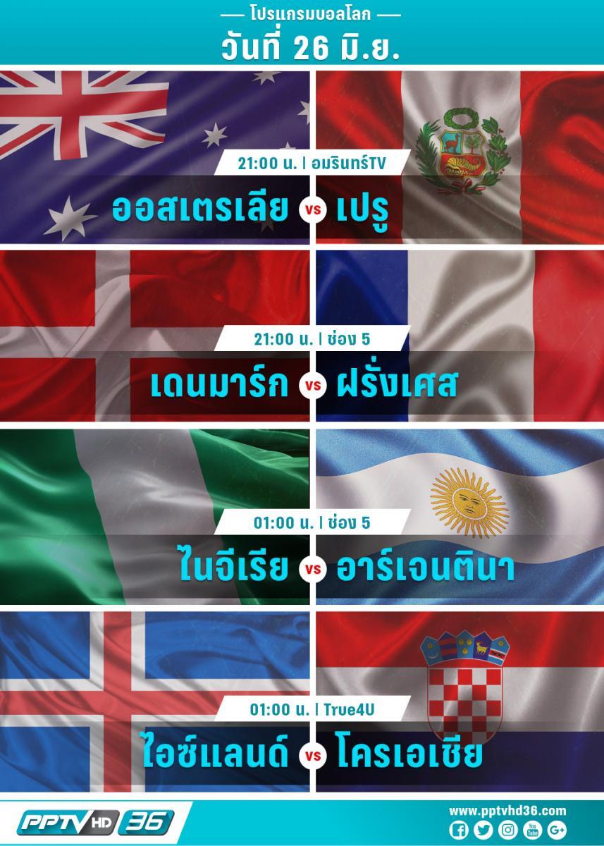 โปรแกรมฟุตบอลโลกวันที่ 26 มิ.ย. และอัพเดตผลบอลโลก
