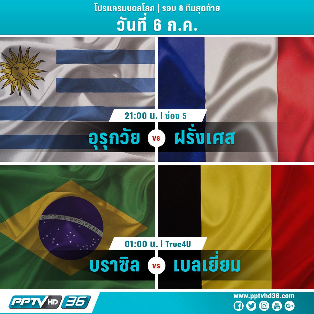 โปรแกรมฟุตบอลโลกรอบ 8 ทีมวันที่ 6 ก.ค. และอัพเดตผลบอลโลก