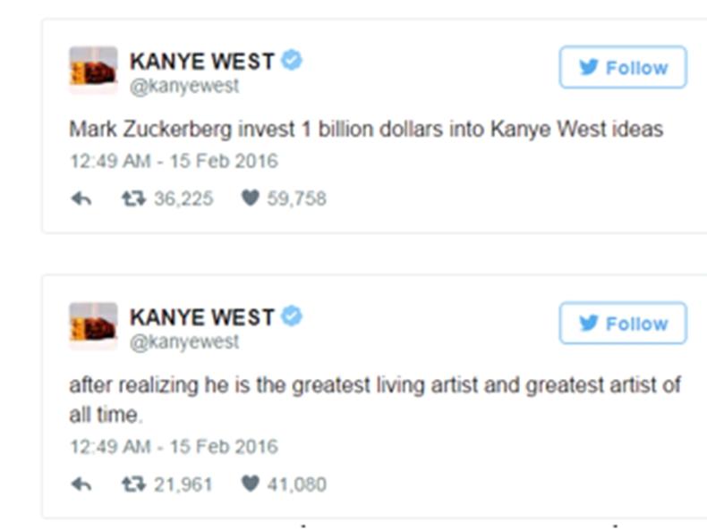"""""""คานเย่"""" ชวน """"ซักเคอร์เบิร์ก"""" ลงทุนพันล้านดอลลาร์สหรัฐ"""