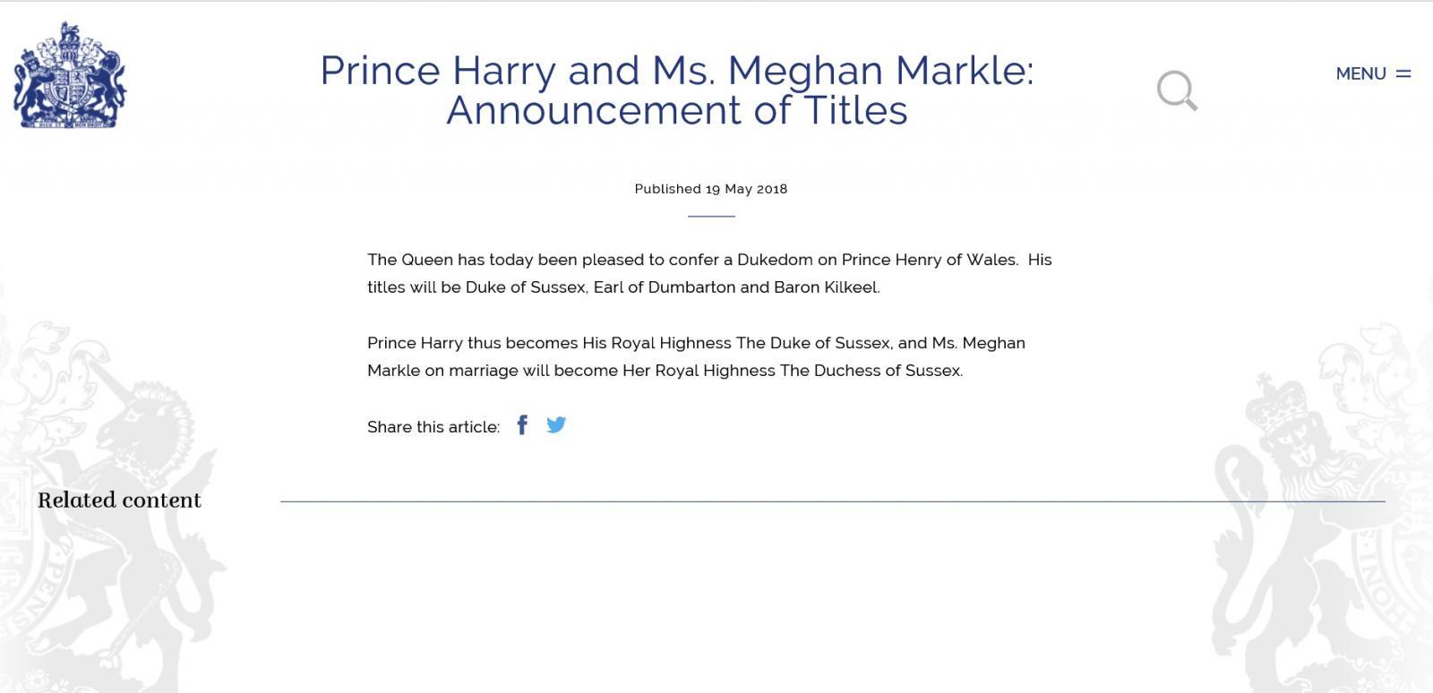 พระราชินีเอลิซาเบธที่ 2 พระราชทานพระบรรดาศักดิ์ดยุคและดัชเชสแห่งซัสเซกส์ แก่เจ้าชายแฮร์รี่และเมแกน มาร์เคิล
