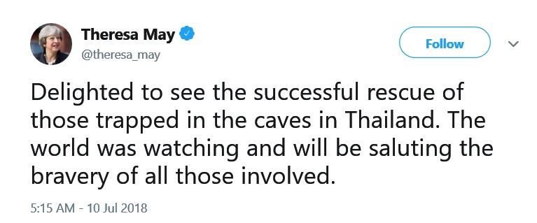 """""""ทรัมป์-เทรีซา เมย์"""" สองผู้นำทวีตยินดีช่วย 13ชีวิตติดถ้ำหลวงสำเร็จ"""