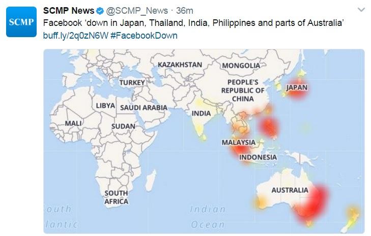 เฟซบุ๊กล่ม 20 นาที ดันแฮชแท็ก Facebookdown ติดเทรนด์ทวิตเตอร์