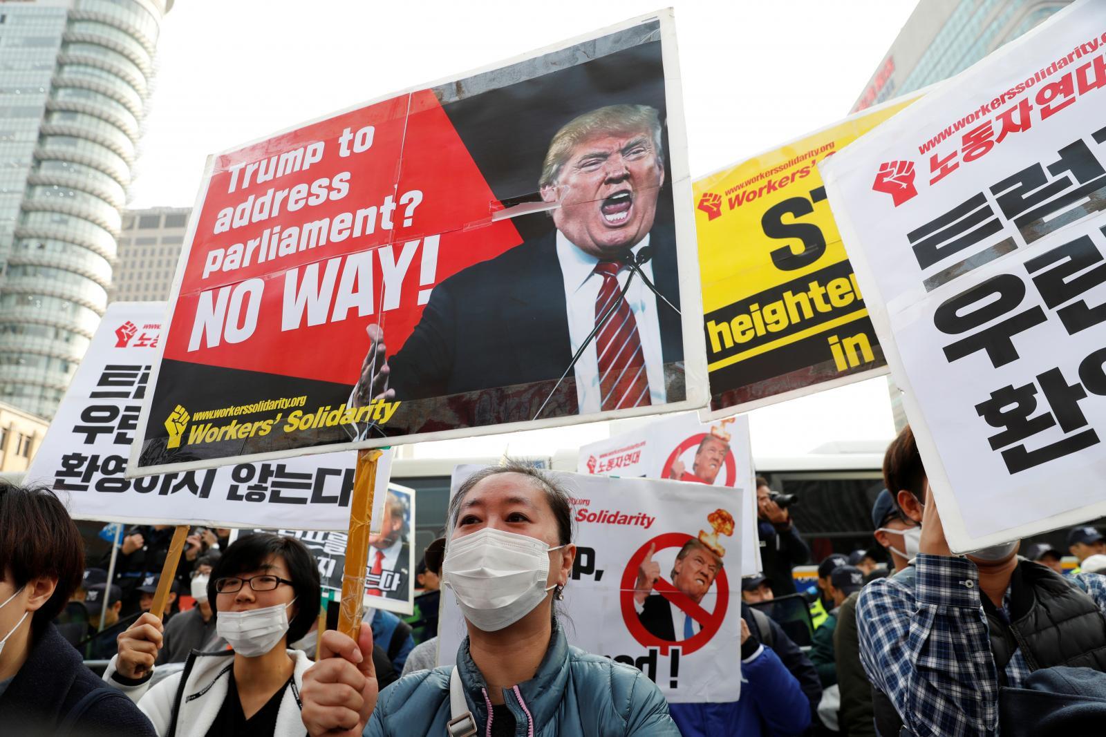 """""""ทรัมป์"""" เยือนเกาหลีใต้ มุ่งคุยเรื่องโสมแดง"""