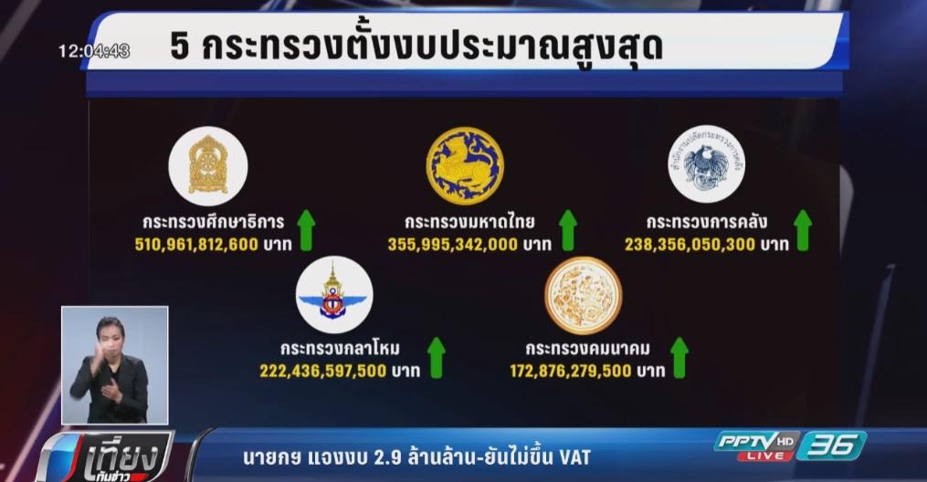 นายกฯ แจงงบ 2.9 ล้านล้าน-ยันไม่ขึ้น VAT