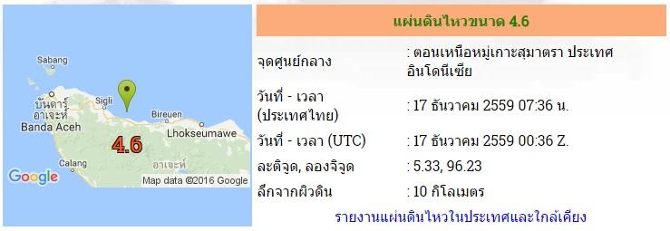 แผ่นดินไหวอินโดนีเซียขนาด 4.6