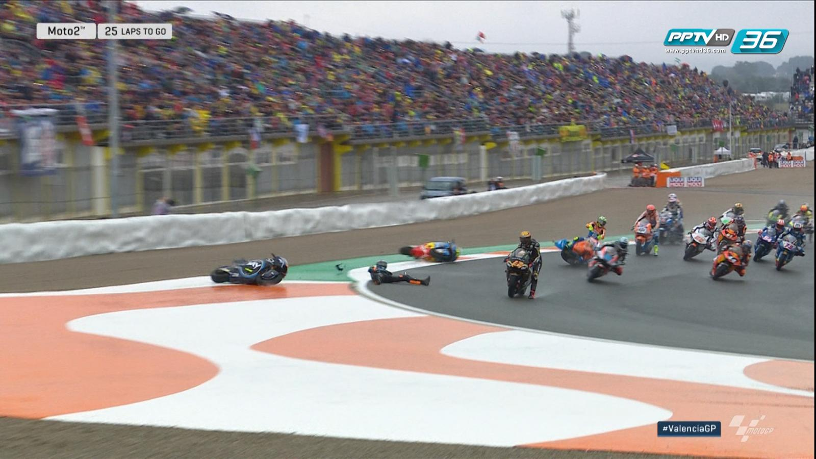 จังหวะลื่นล้มของนักบิด Moto2 ตั้งแต่โค้ง 2 ของรอบแรกในสนามสุดท้าย