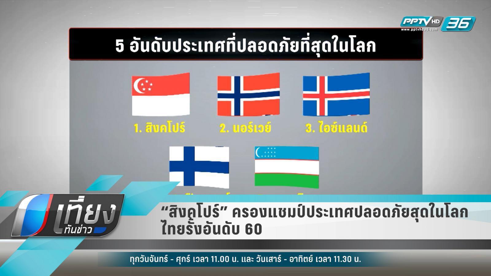 """""""สิงคโปร์"""" ครองแชมป์ประเทศปลอดภัยสุดในโลก – ไทยรั้งอันดับ 60"""