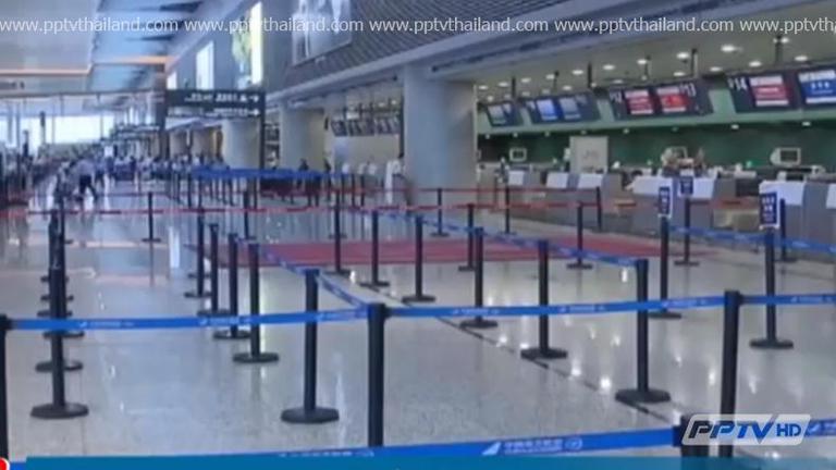 """ไต้ฝุ่น """"จันหอม"""" ส่งผลกระทบต่อการเดินทางในเซี่ยงไฮ้"""