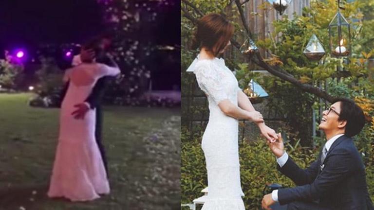 """คลิปหลุดสุดทะเล้น """"เบยองจุน"""" มือเลื้อยจับก้นเจ้าสาว """"พัคซูจิน"""" กลางฟลอร์เต้นรำ"""