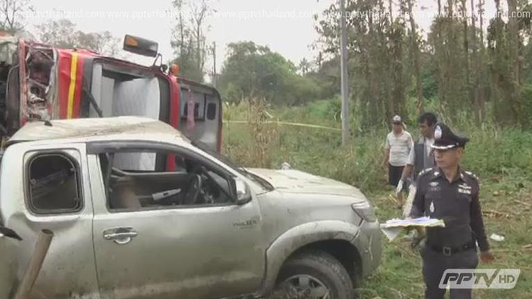 กระบะซิ่งฝ่าสายฝนพุ่งข้ามเลนชนรถทัวร์ดับ2เจ็บ20