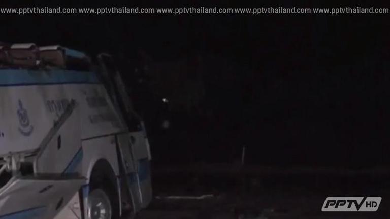 รถทัวร์ซิ่งฝ่าสายฝนพลิกคว่ำ จ.บุรีรัมย์ เจ็บกว่า 40