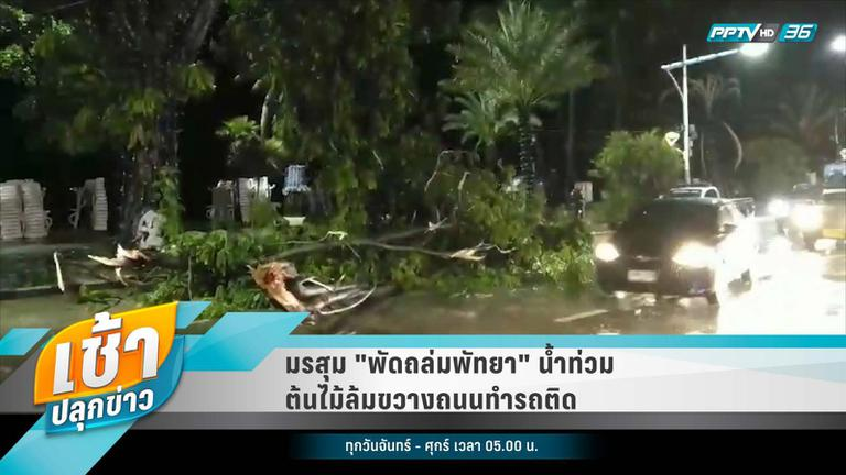 """มรสุม """"พัดถล่มพัทยา"""" น้ำท่วม-ต้นไม้ล้มขวางถนนทำรถติด"""