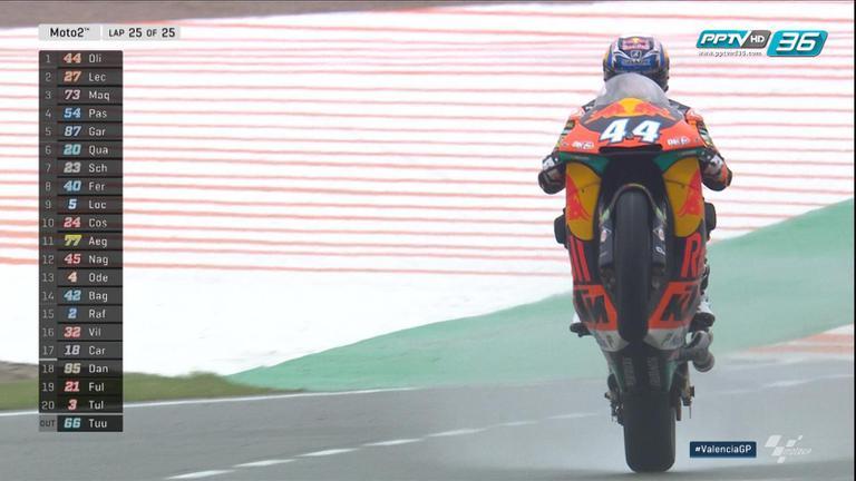 ชมวินาที Miguel Oliveira เข้าเส้นชัยในตำแหน่งแชมป์ของสนามสุดท้าย Moto2