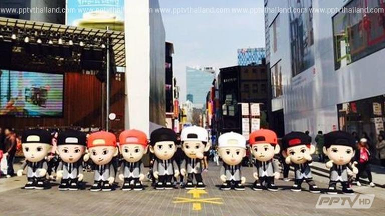 ตุ๊กตามาสคอสหนุ่มๆ EXO เดินทางอวดความน่ารักทั่วกรุงโซล