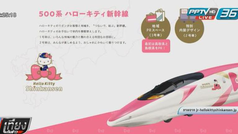"""ญี่ปุ่นเตรียมเปิดให้บริการ """"รถไฟสายคิตตี้"""" ในช่วงกลางปีนี้"""