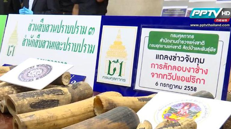 กรมศุลกากร ตรวจยึดงาช้างแอฟริกาใช้ไทยเป็นทางผ่านส่งต่อลาว