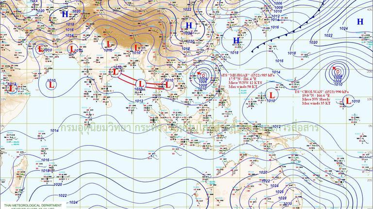 """ทั่วไทยฝนตกหนัก กทม.ฝนกระหน่ำ 70% ระวังพายุ """"มูจีแก"""" ถล่มไทย 4-6 ต.ค. 58"""