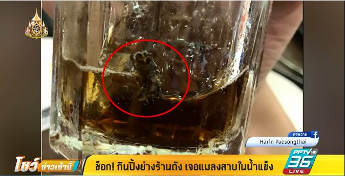ช็อก !! กินปิ้งย่างร้านดัง เจอแมลงสาบในน้ำแข็ง