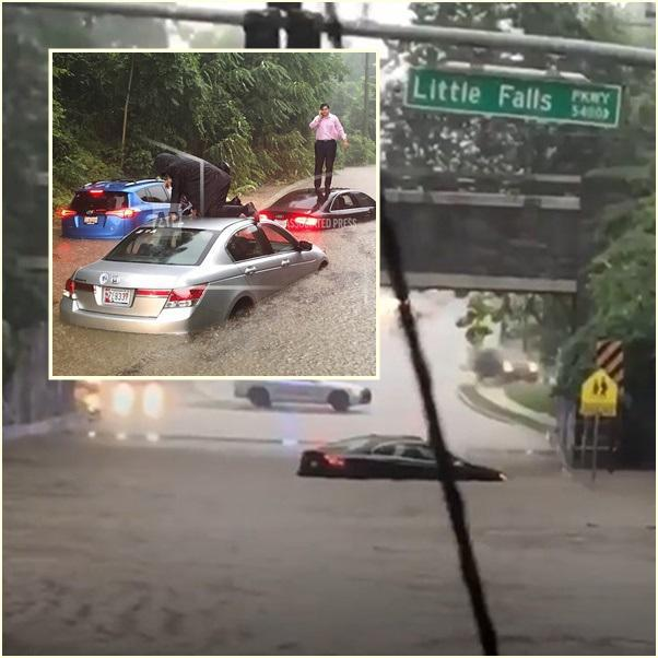 """น้ำท่วมฉับพลัน """"กรุงวอชิงตัน ดีซี"""" รถจมมิดเกือบถึงหน้าต่าง คนหนีขึ้นไปอยู่บนหลังคา"""