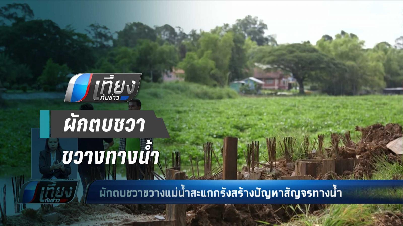 ผักตบชวาขวางแม่น้ำสะแกกรังสร้างปัญหาสัญจรทางน้ำ