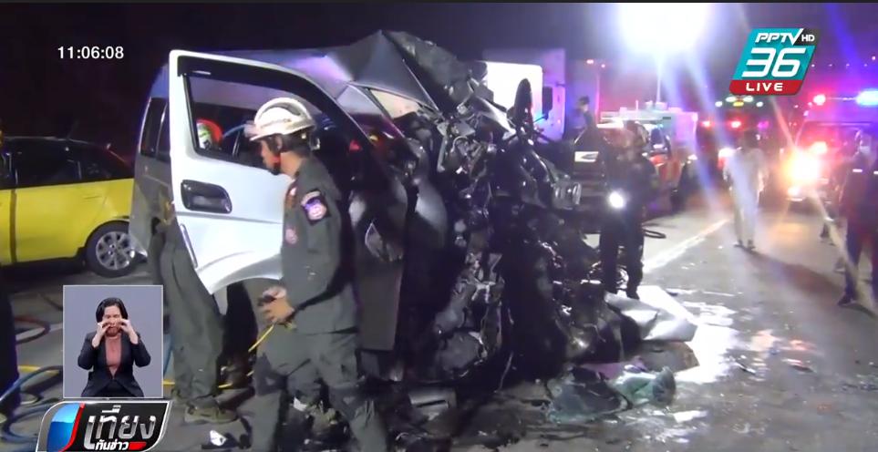 รถตู้คณะครู-นศ. ชนท้ายรถบรรทุกพังยับ เก๋งตามหลังชนซ้ำ ตาย 3 เจ็บกว่า 10