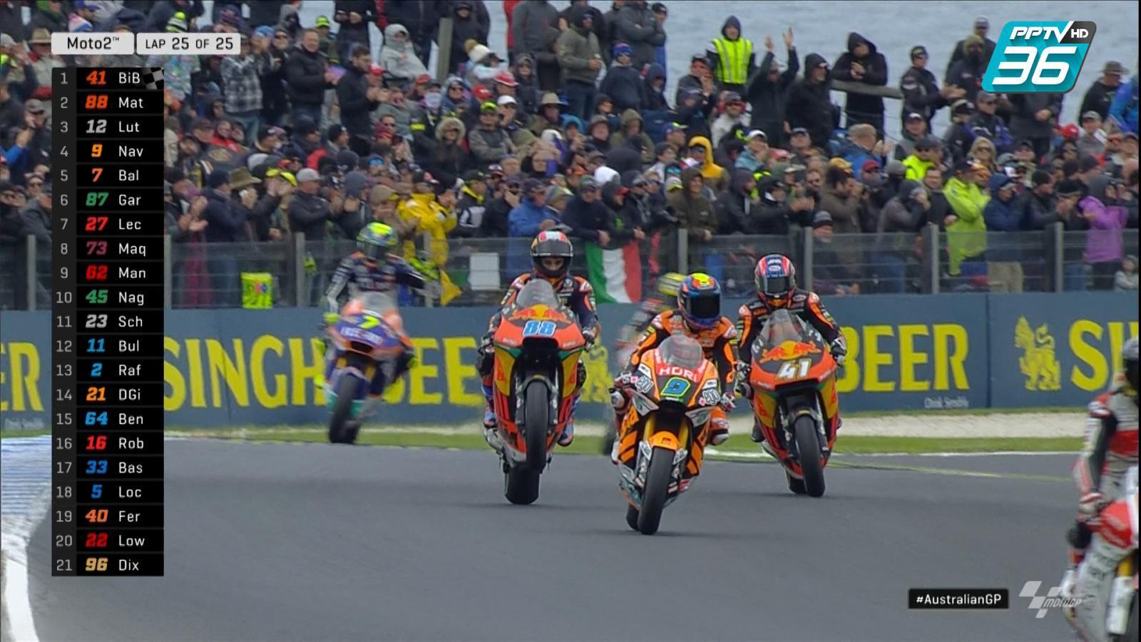 จบการแข่งสนามที่ 17 ในรุ่น Moto2 อันดับ 1 Brad Binder อันดับ 2 Jorge Martin และอันดับ 3 Thomas Luthi