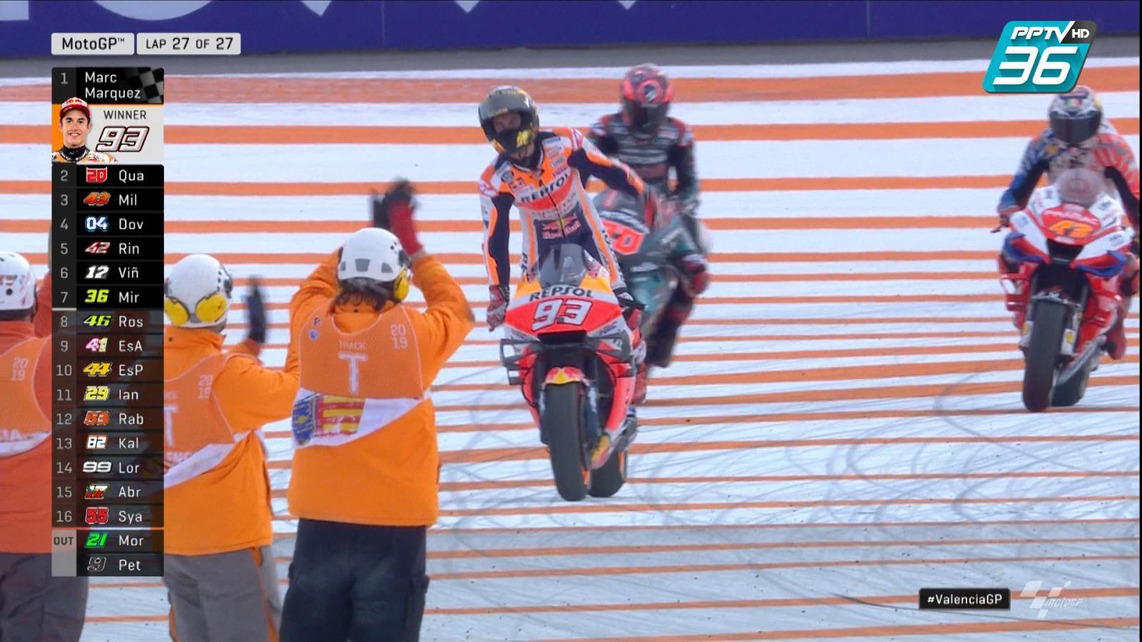 """จบ """"MotoGP 2019"""" สนามที่ 19 อันดับ 1 Marc Marquez อันดับ 2 Fabio Quartararo และ อันดับ 3 Jack Miller"""