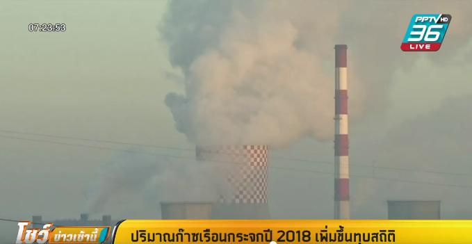 ปริมาณก๊าซเรือนกระจกปี 2018 เพิ่มขึ้นทุบสถิติ