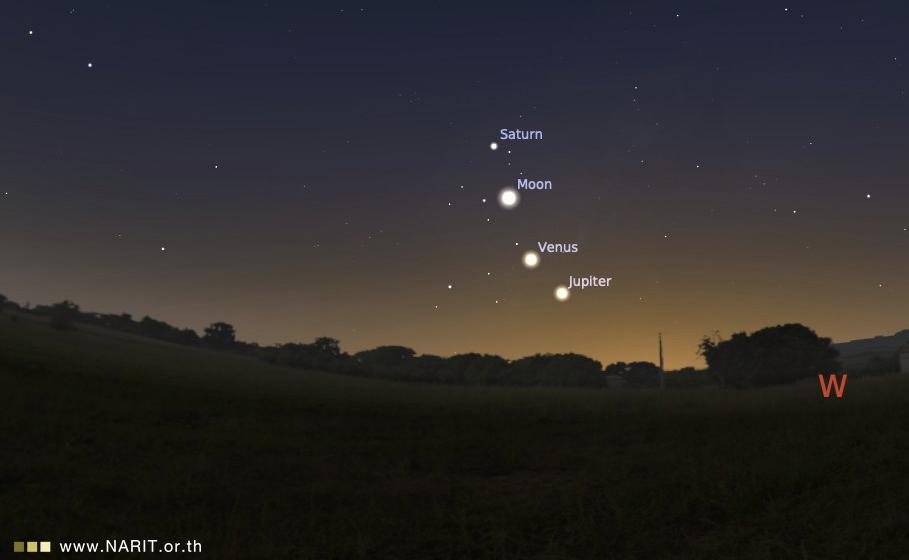 """ห้ามพลาด! หลังดวงอาทิตย์ตก พบปรากฏการณ์ """"แสงโลก-ดาวเรียงเดือน"""""""