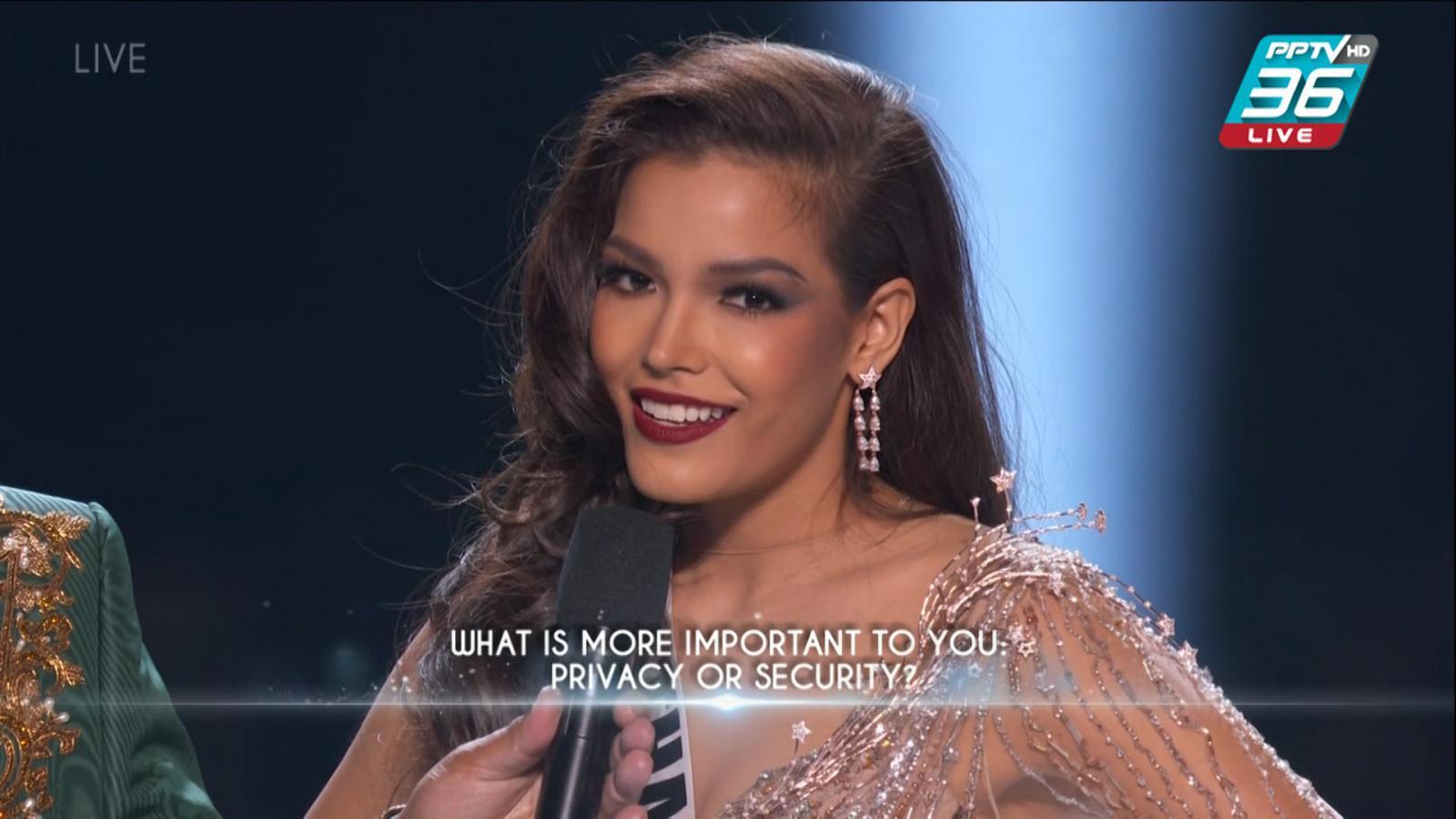 """เปิดคำตอบ """"ฟ้าใส ปวีณสุดา"""" จากคำถามบนเวที Miss Universe 2019"""